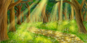 Wizard of Oz Theater Backdrop Commission: Yellow Brick Road
