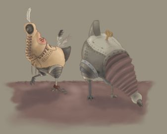 Mechanical chickens concept art